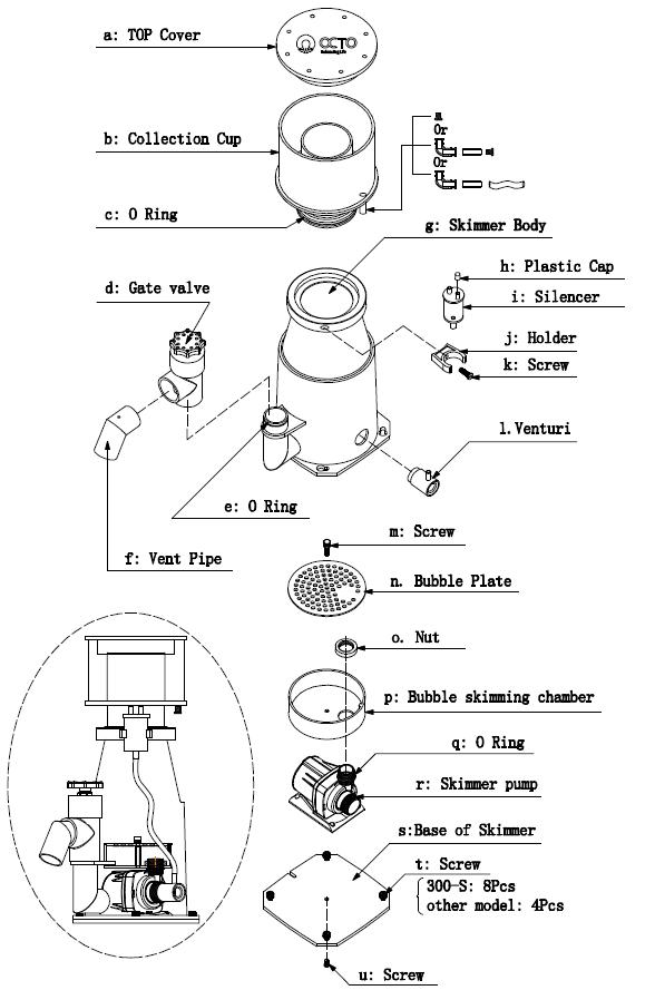 Regal Protein Skimmer diagram